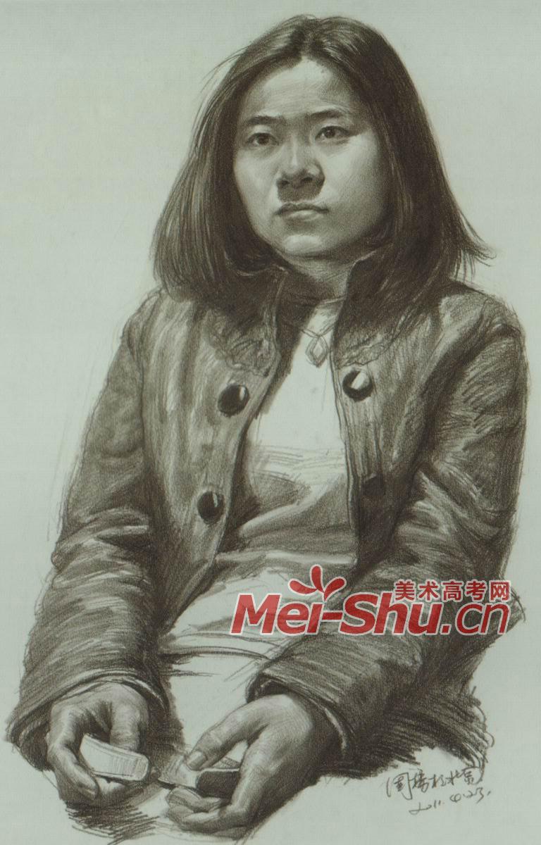 素描半身像带手中年人青年女青年(3)