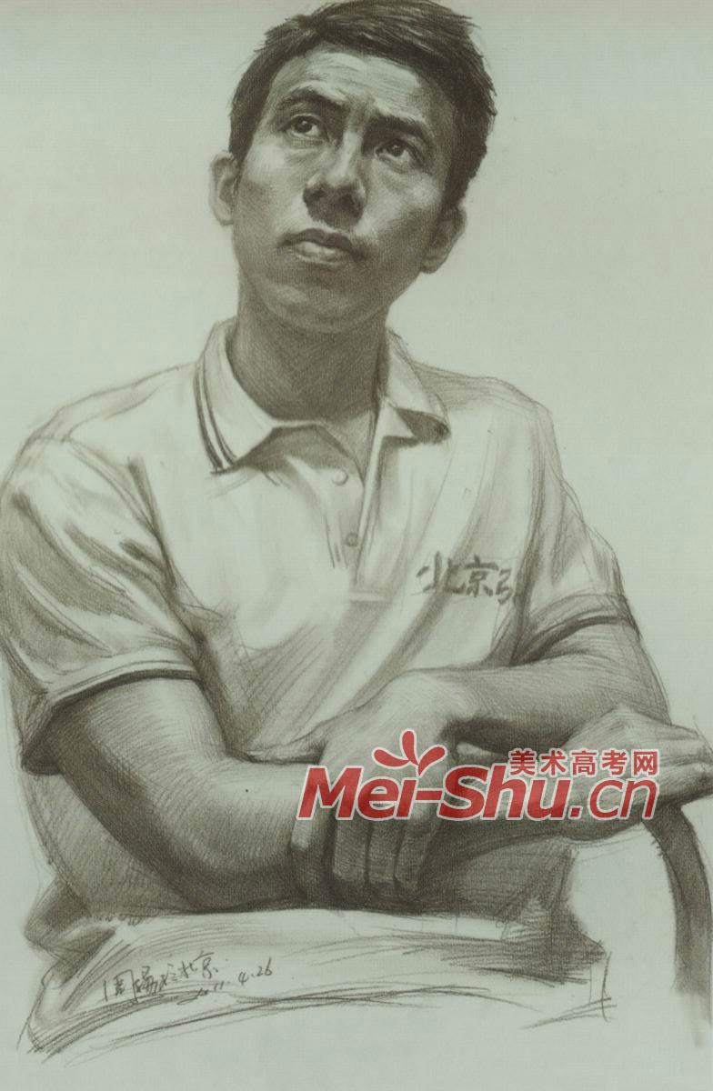素描半身像中青年中年人正面正面光源(4)_中国美术