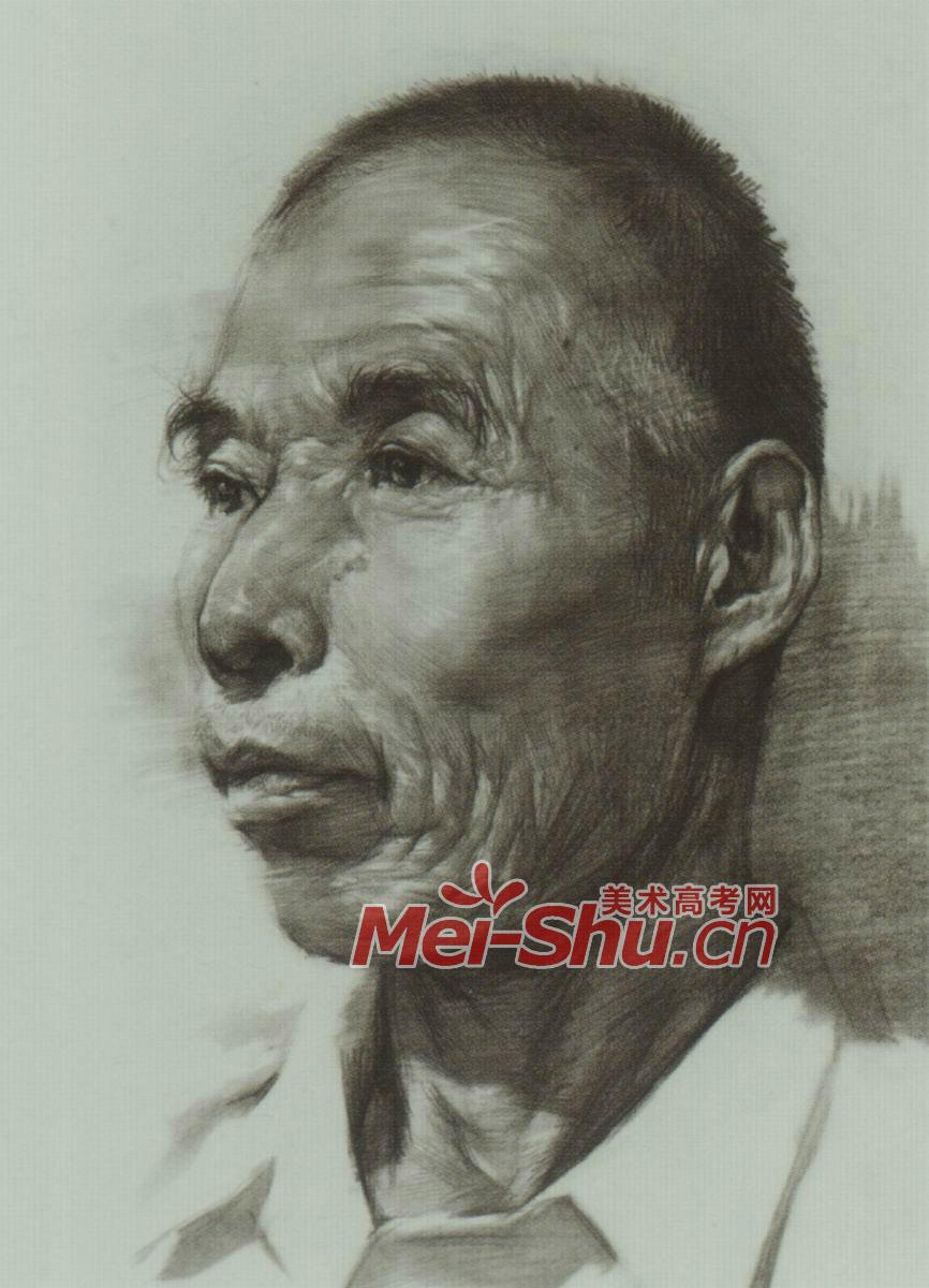 素描男头像老人头像侧面(5)