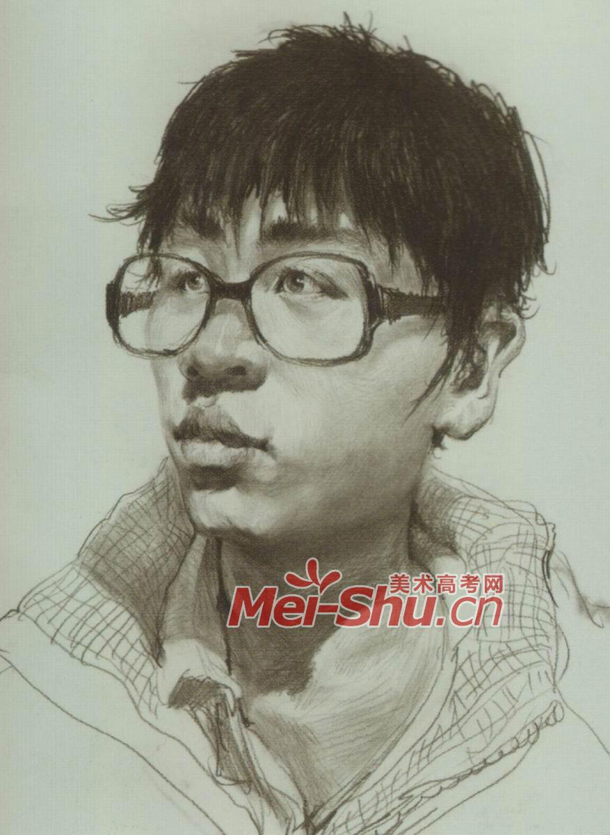 素描人头像青少年侧视头像戴眼镜左侧(5)