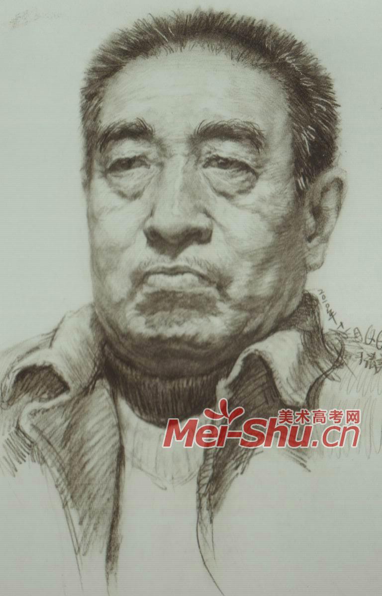 素描头像男头像素描范画正面中年中老年(2)