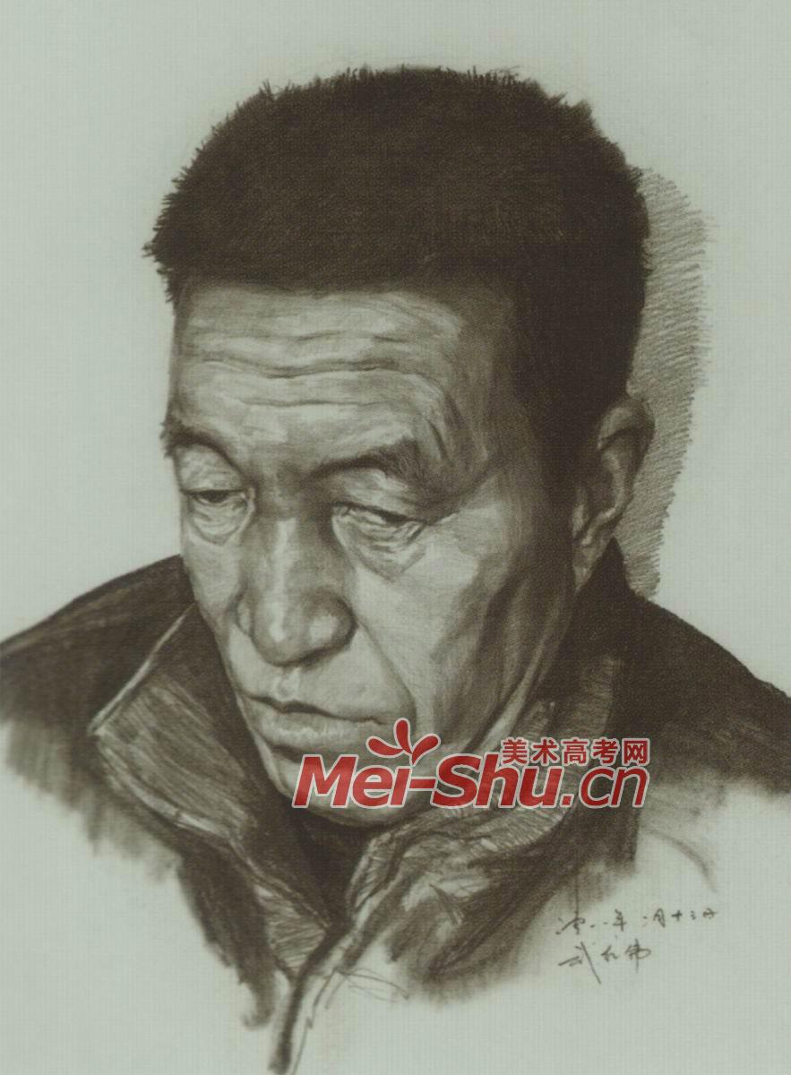 素描人头像中年头像老人中年人仰视(4)