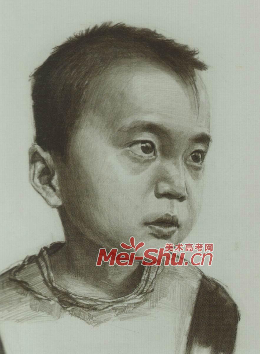素描头像技法小孩头像长头发圆脸型头像技法(5)图片