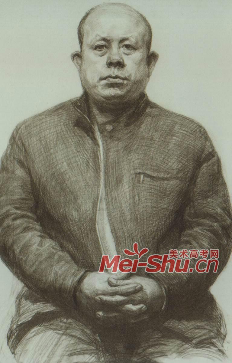 素描半身像中青年中年人正面正面光源(2)_中国美术