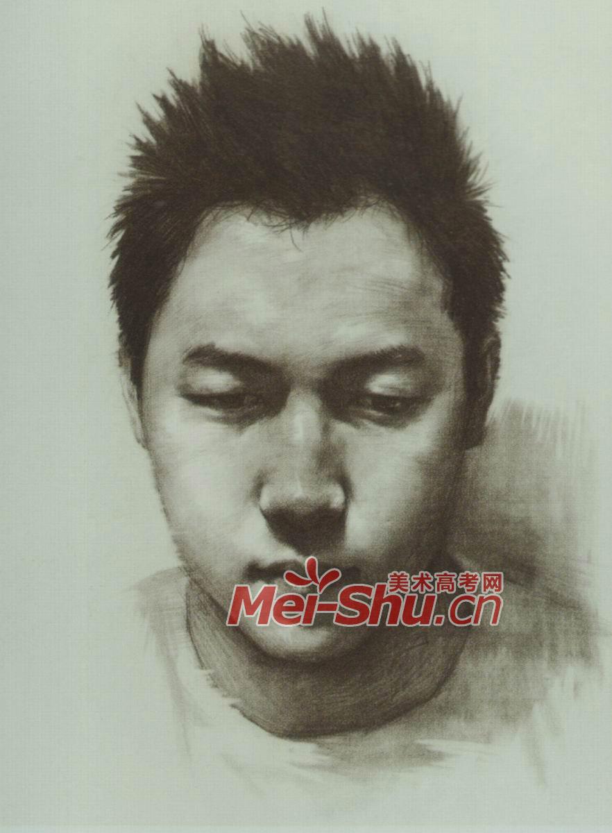 素描人头像青少年青年正面鼻子耳朵眼睛(2)