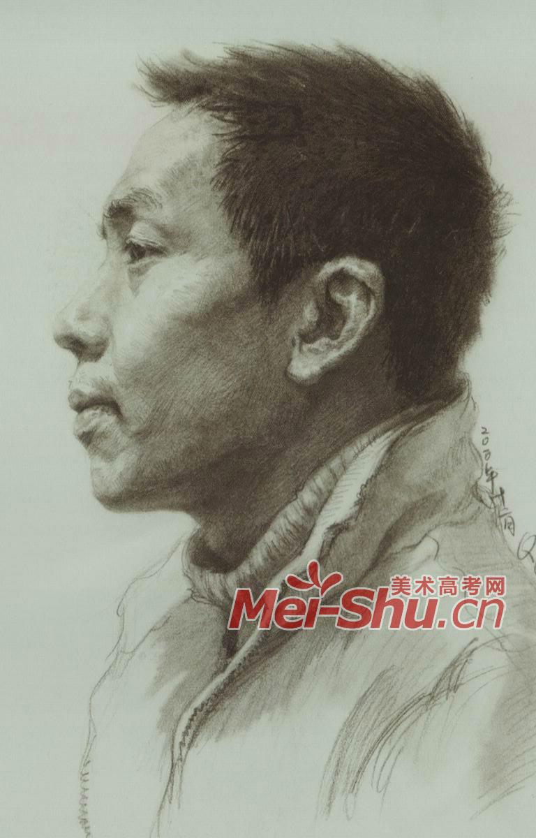 素描头像正侧面侧面头像男中年头像(4)