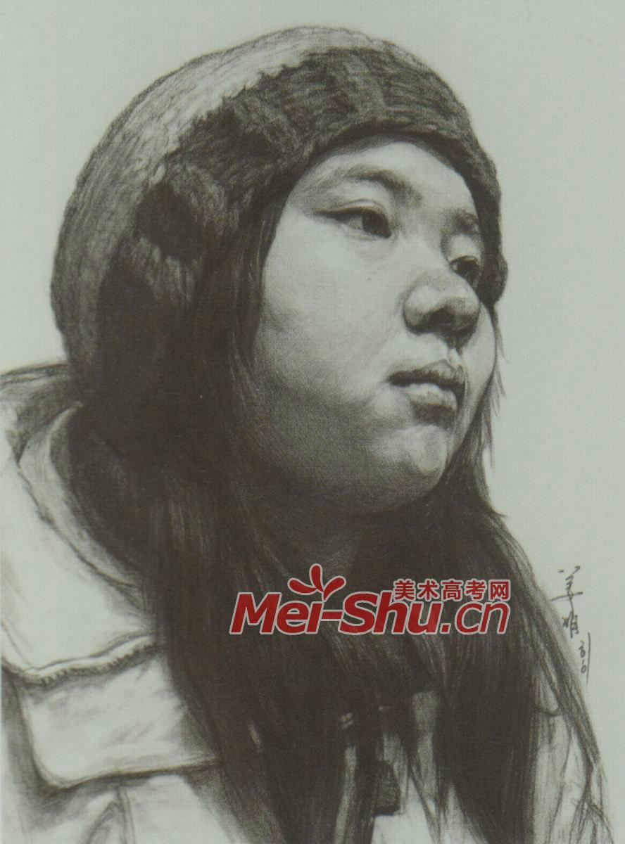 素描头像女青年戴帽子的齐刘海女性(2)