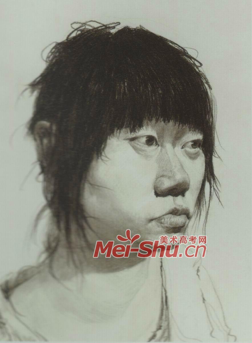 素描头像女青年戴帽子的齐刘海女性(5)