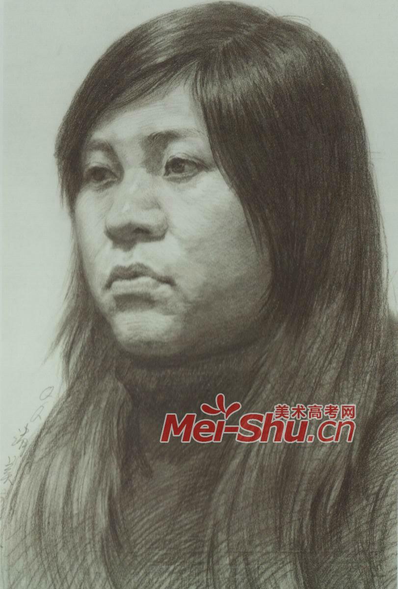 素描头发的画法; 素描头像写生范画女青年技法例; 鼻子素描写生图片图