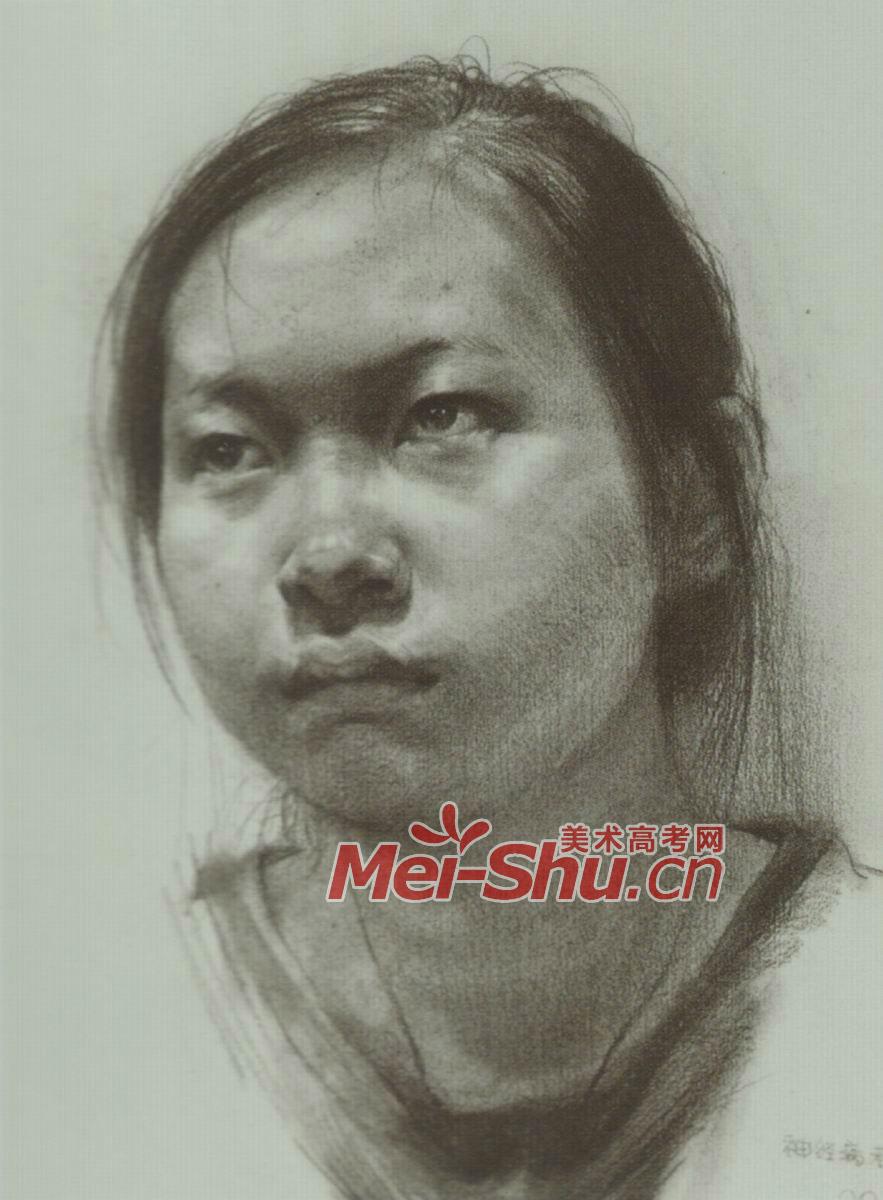 素描人头像女孩写生素描范画戴眼镜的姑娘(3)