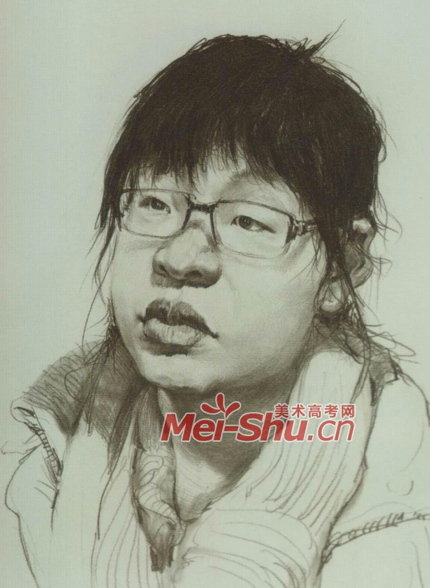 素描人头像女孩写生素描范画戴眼镜的姑娘(4)_中国美术高考网877