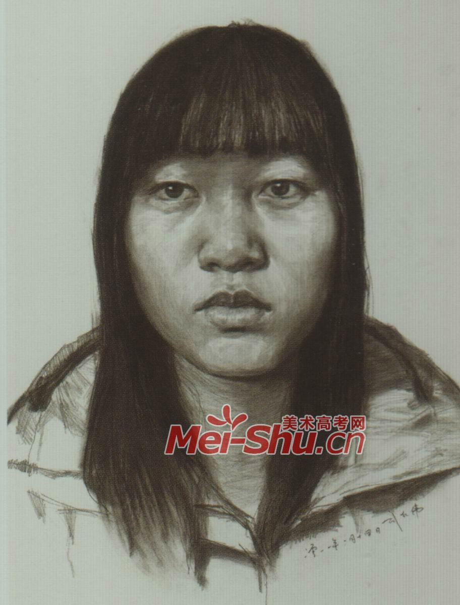素描人头像女青年戴眼镜的圆脸姑娘齐刘海(4)