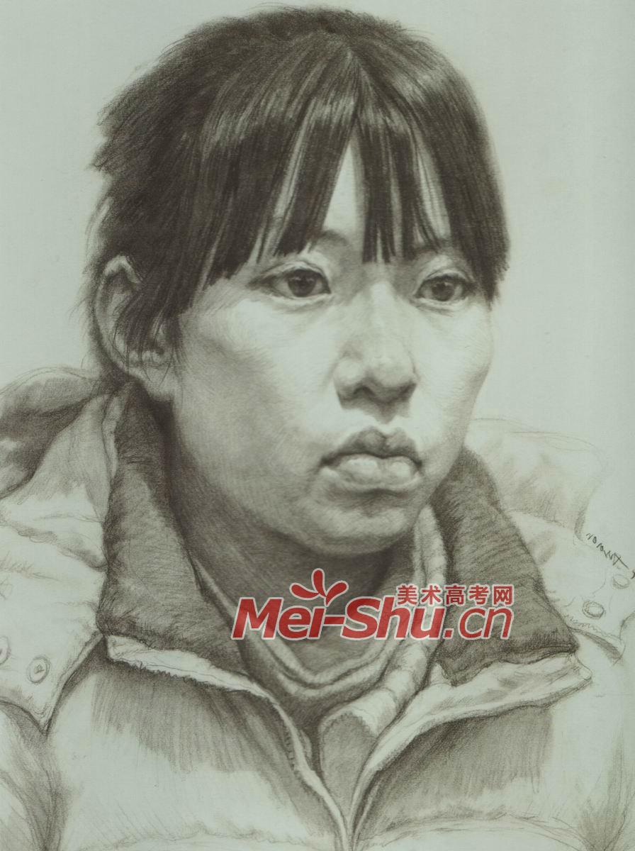 素描头像女头像齐刘海扎辫子戴眼镜的女青年