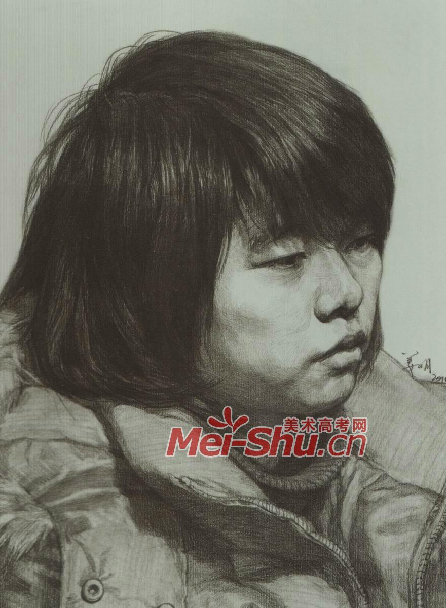 青少,年女素描; 素描头像女性圆脸长头发正侧面短头发中年妇女鼻子和