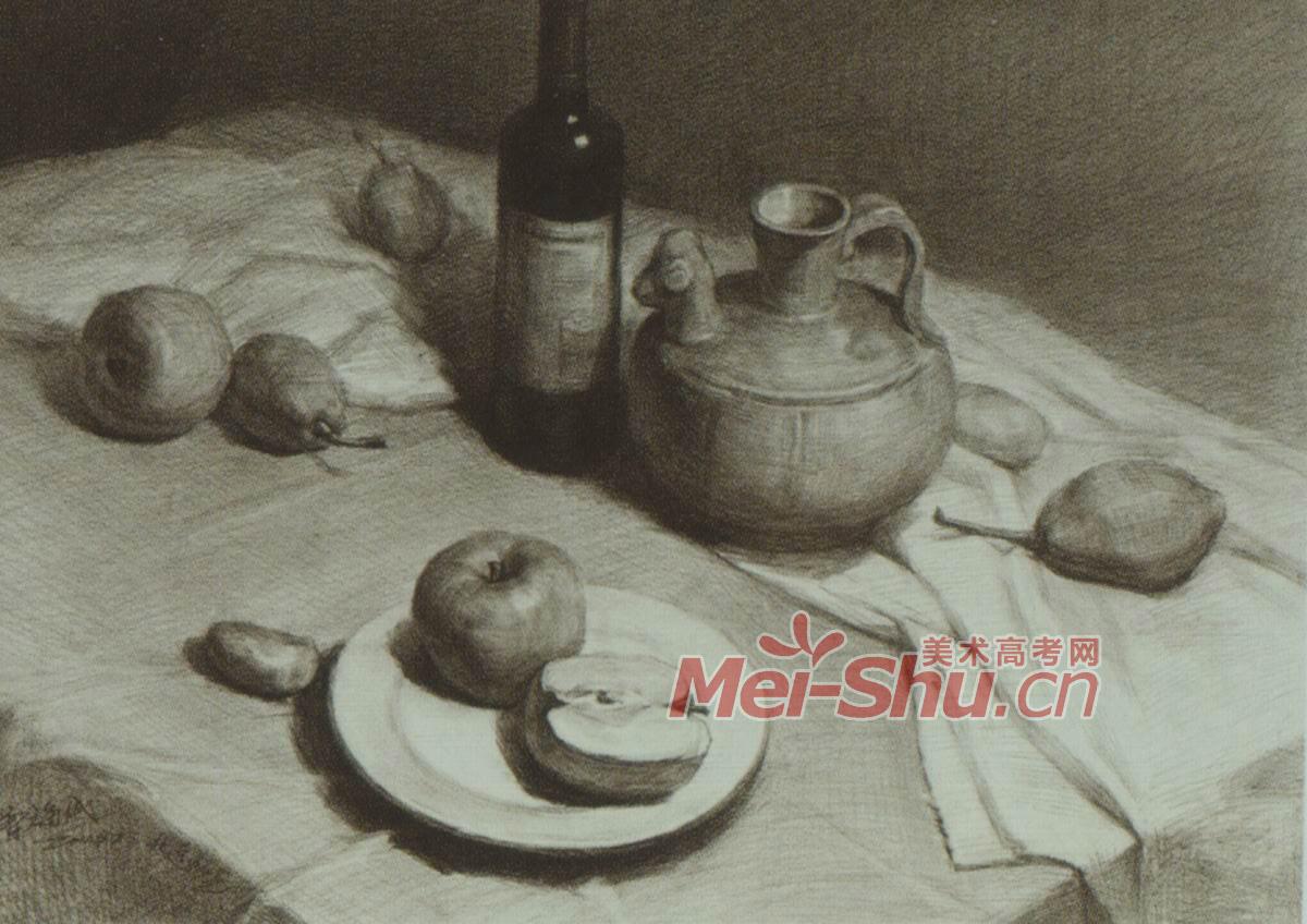 素描静物白罐子范画酒瓶子范画饭锅苹果盘子茶杯花瓶碗 2