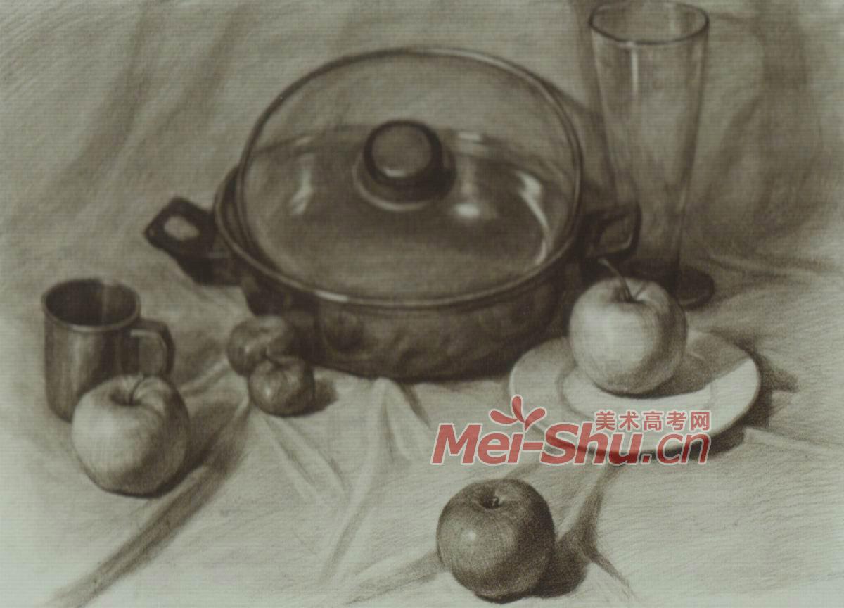 素描静物白罐子范画酒瓶子范画饭锅苹果盘子茶杯花瓶碗 3