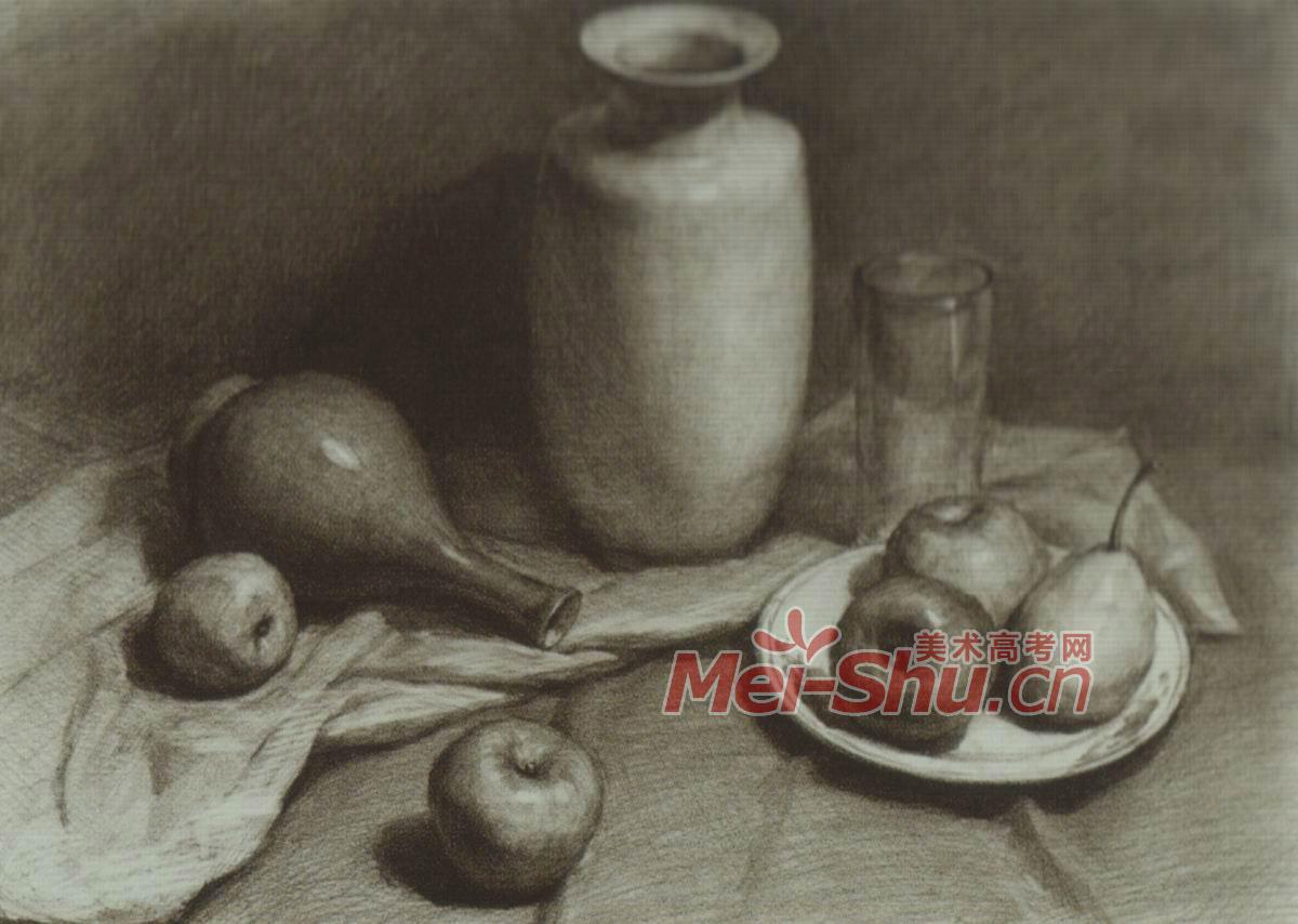 素描静物花瓶罐子黑罐子苹果梨子白盘子