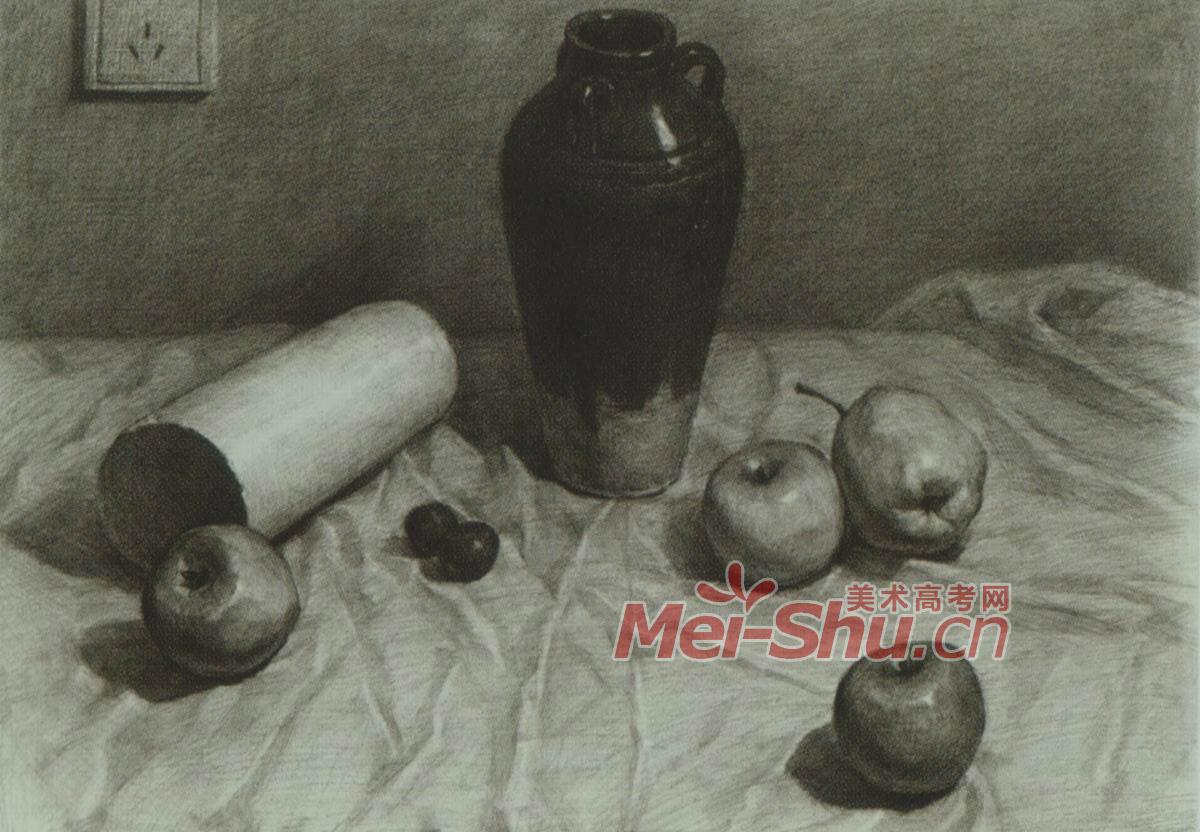 素描静物花瓶罐子黑罐子苹果梨子白盘子(3)