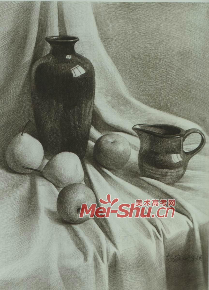 素描静物花瓶罐子黑罐子苹果梨子白盘子(4)