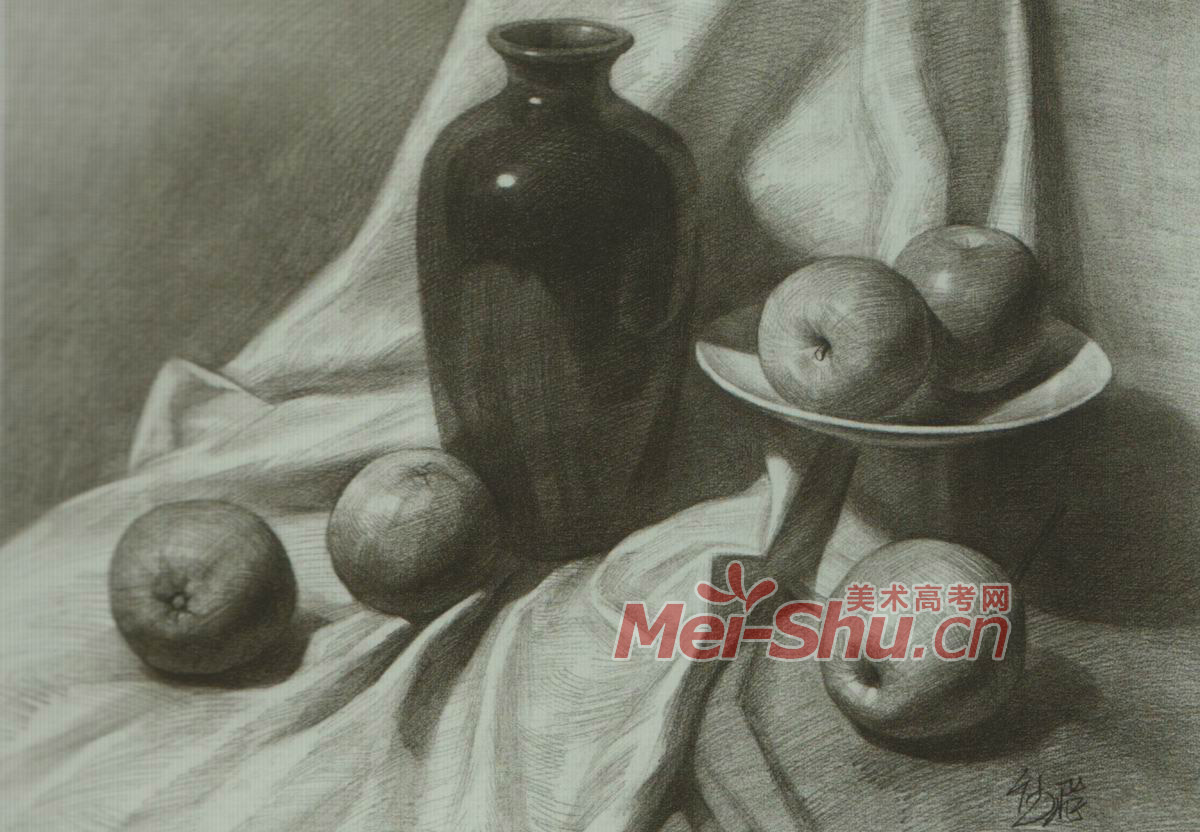 素描静物黑罐子高脚杯梨子苹果玉米黑色罐子(4)
