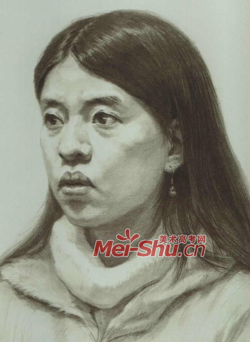 素描头像写生范画女性小姑娘范画(2)