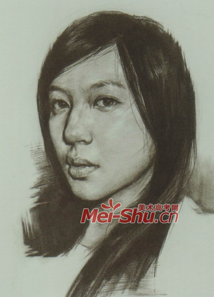 素描头像写生范画女性小姑娘范画(5)