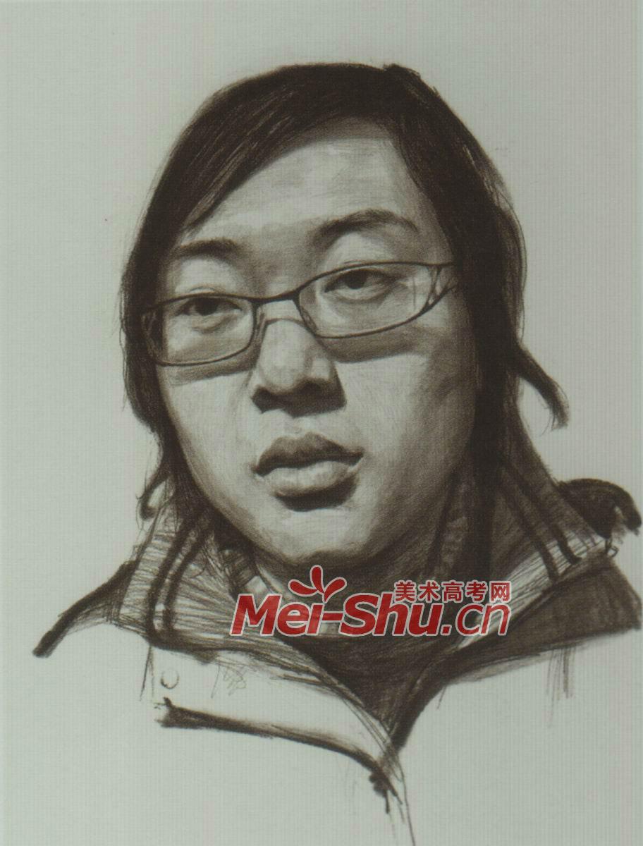 素描人头像女青年戴眼镜的圆脸姑娘齐刘海(5)