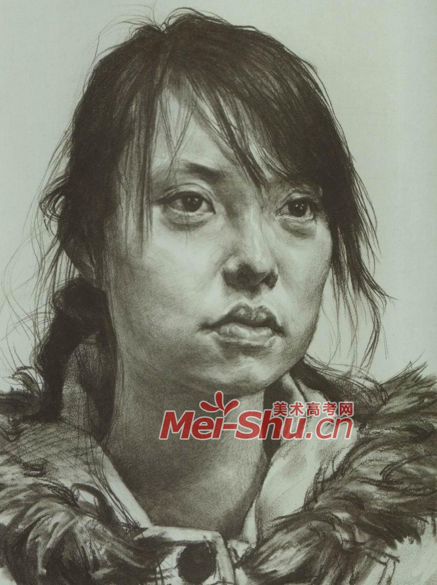 素描头像女头像齐刘海扎辫子戴眼镜的女青年(2)