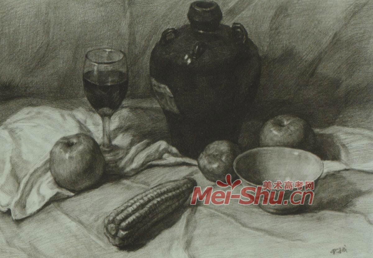 素描静物花瓶深色台布苹果塑料瓶子梨子装饮料的(5)
