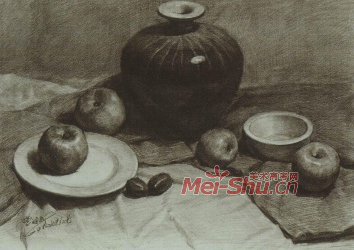 素描静物静物写生技法黑罐子梨子白色台布(4)