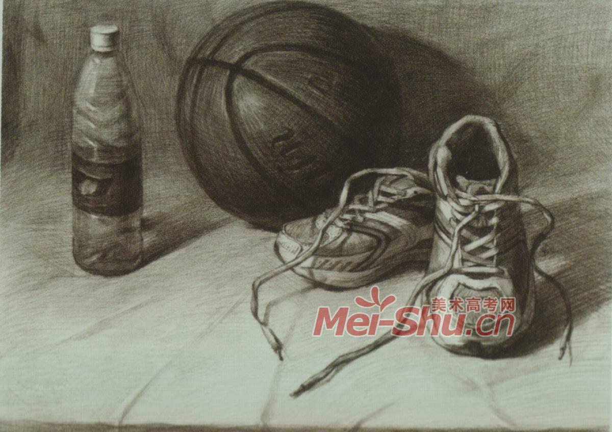素描静物白盘子篮球鞋子玻璃瓶子老油灯有茶壶(2)