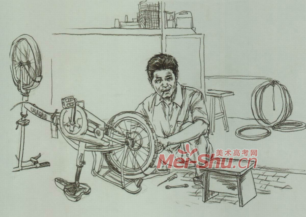 场景速写 画室一角,厨房,修自行车,路边卖东西,考场一角,修理铺 10