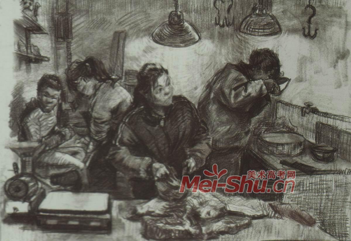 场景速写 在厨房做饭 画室一角 切菜的人