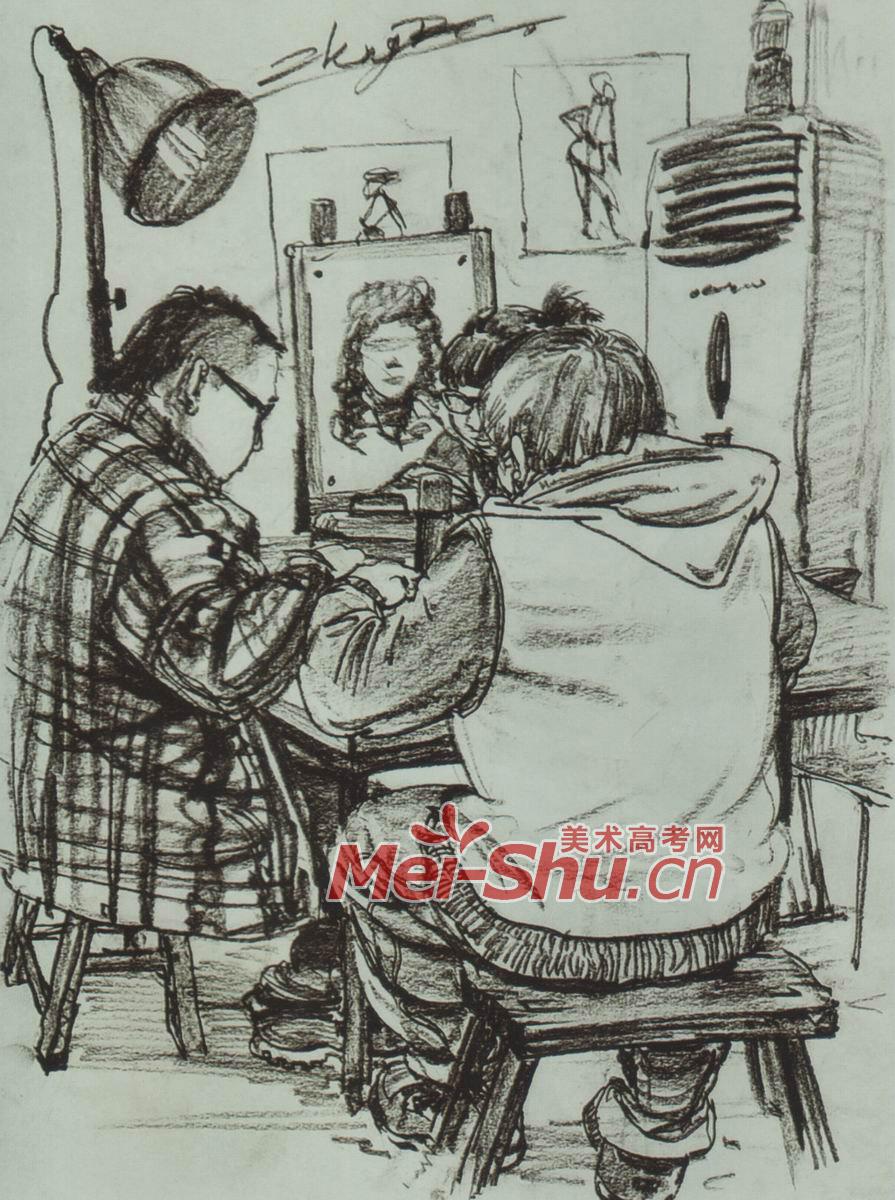 速写-画室一角,厨房,修自行车,路边卖东西,考场一角 ...
