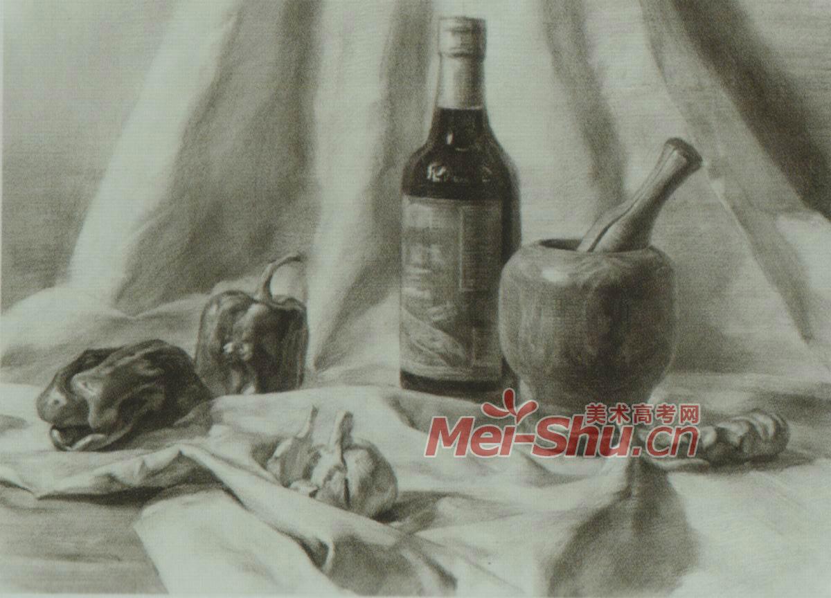 素描静物塑料袋酒罐子可乐瓶啤酒瓶红酒瓶玻璃瓶梨子 2