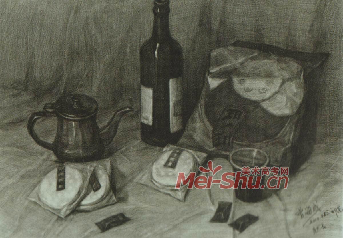 素描静物塑料袋酒罐子可乐瓶啤酒瓶红酒瓶玻璃瓶梨子 4