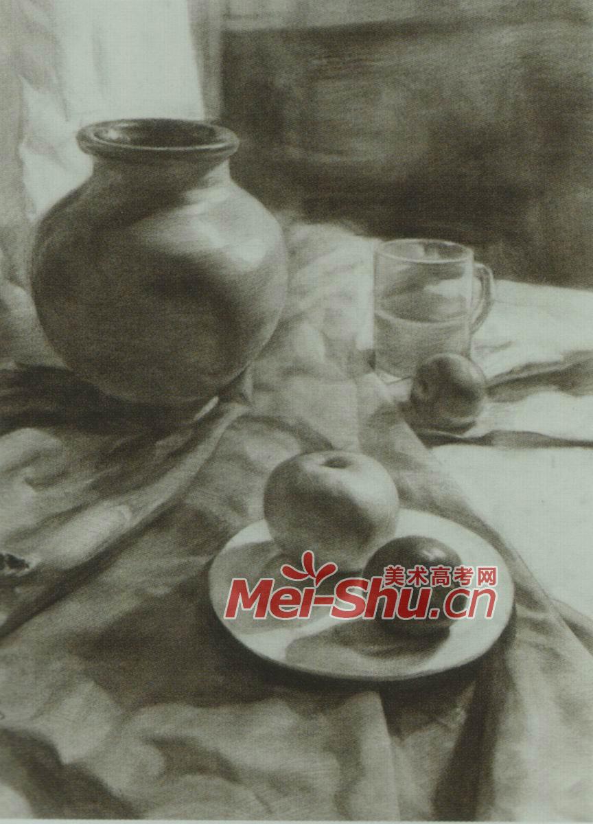 素描静物组合筷子范画面包片玻璃茶壶(2)