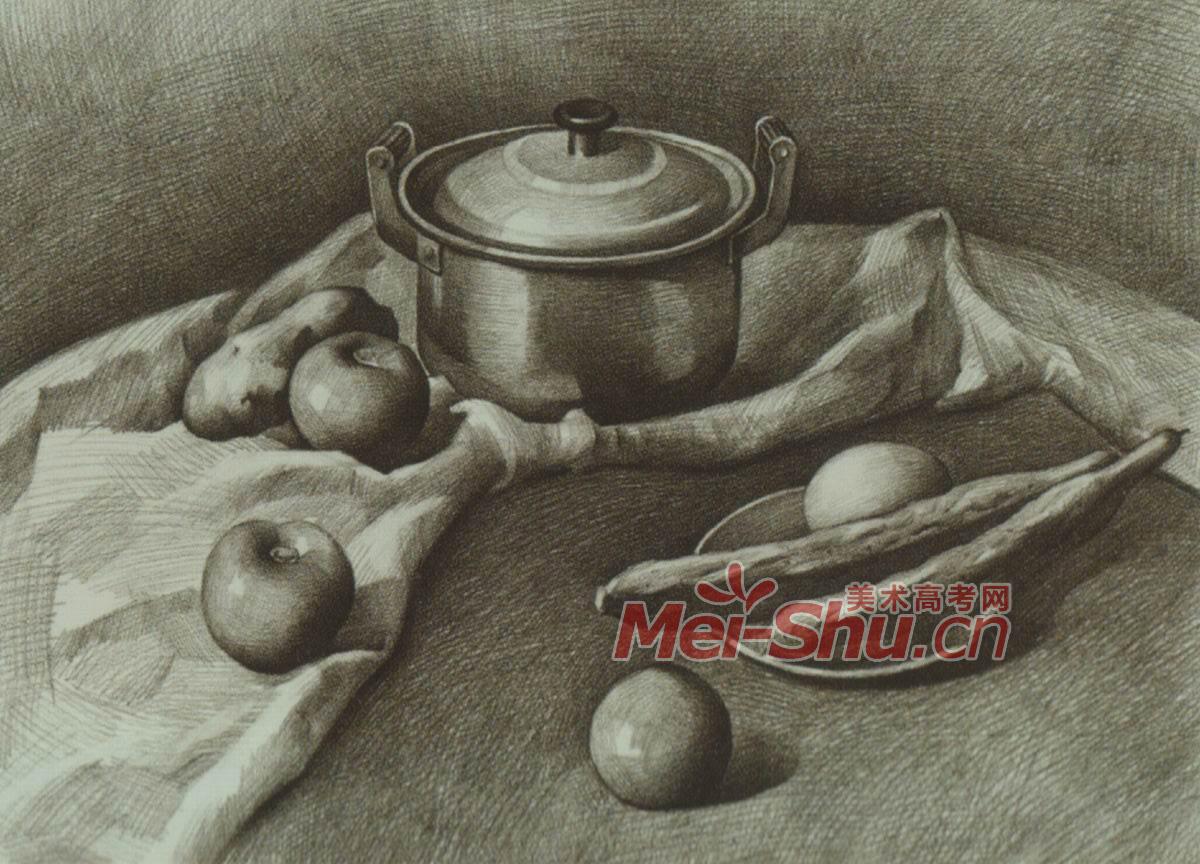 素描静物组合筷子范画面包片玻璃茶壶(3)