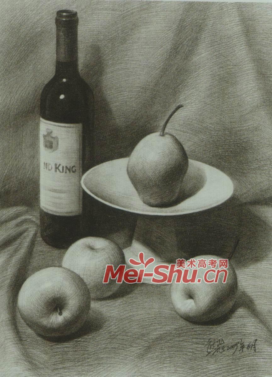 素描静物组合红酒瓶子香蕉苹果;
