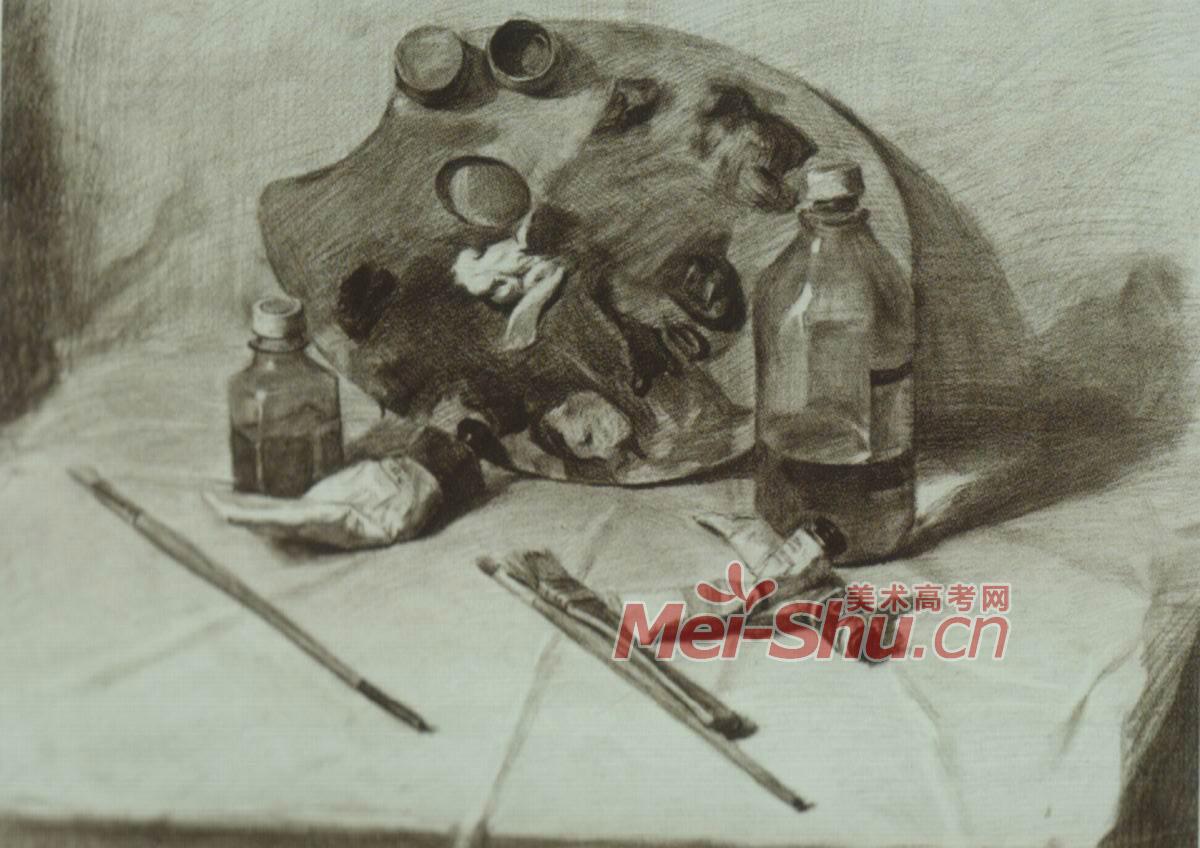 素描静物例图帽子颜料盒书课本玻璃杯水壶(3)