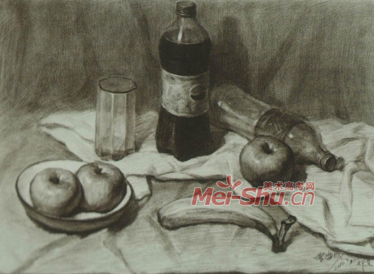 素描静物范画,塑料瓶子,大果粒,百事可乐瓶子,香蕉,切片面包