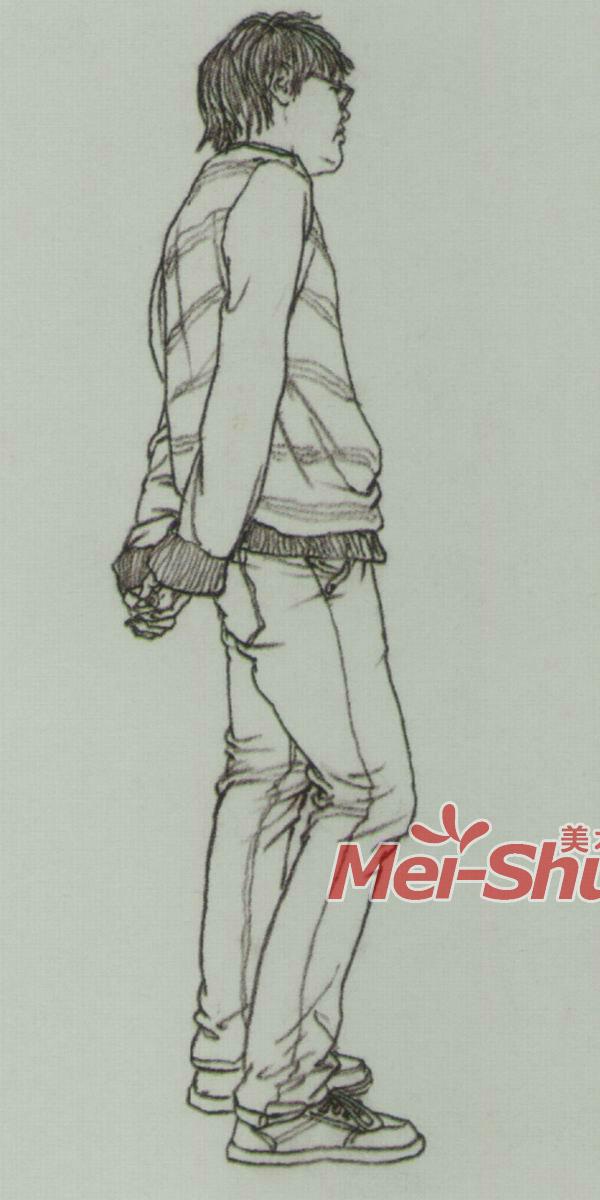 速写人物青年速写戴围巾的人青年站姿   站姿速写,站姿速