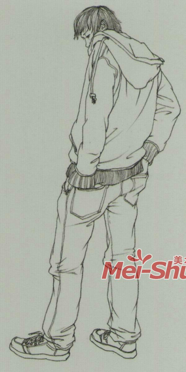 简笔画女主持人站姿-速写人物青年速写戴围巾的人青年站姿 4