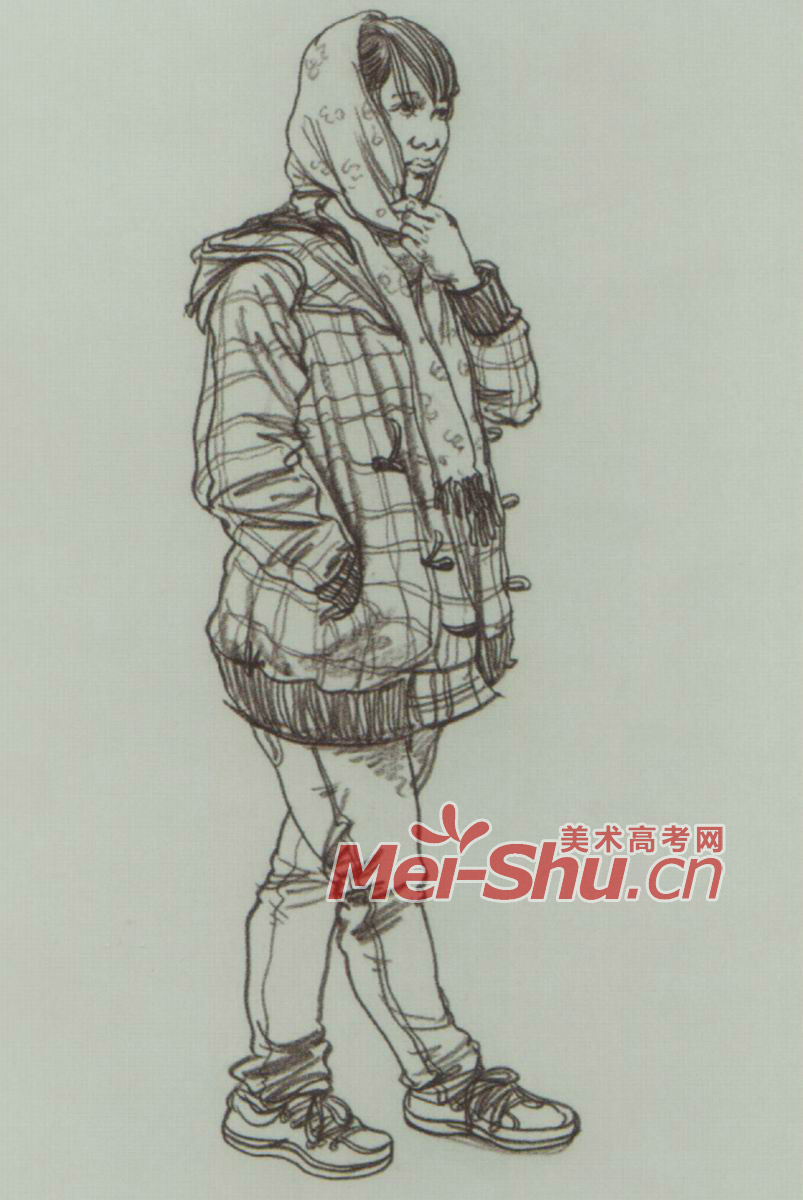 速写单个人物戴头巾的女生戴眼镜的女青年短头发 (803x1200)