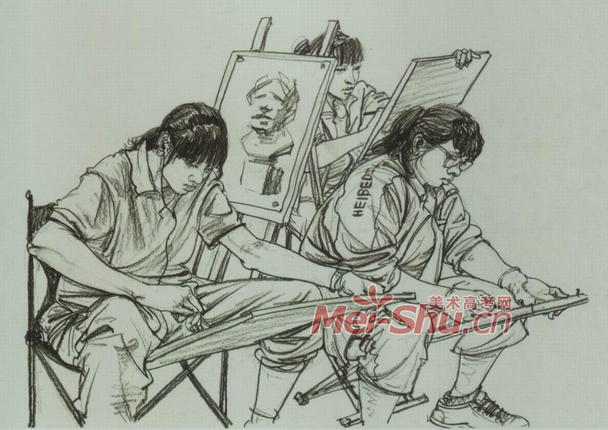 场景速写人物组合速写三人组合一家子车站一角画室一角考场一角; 室内