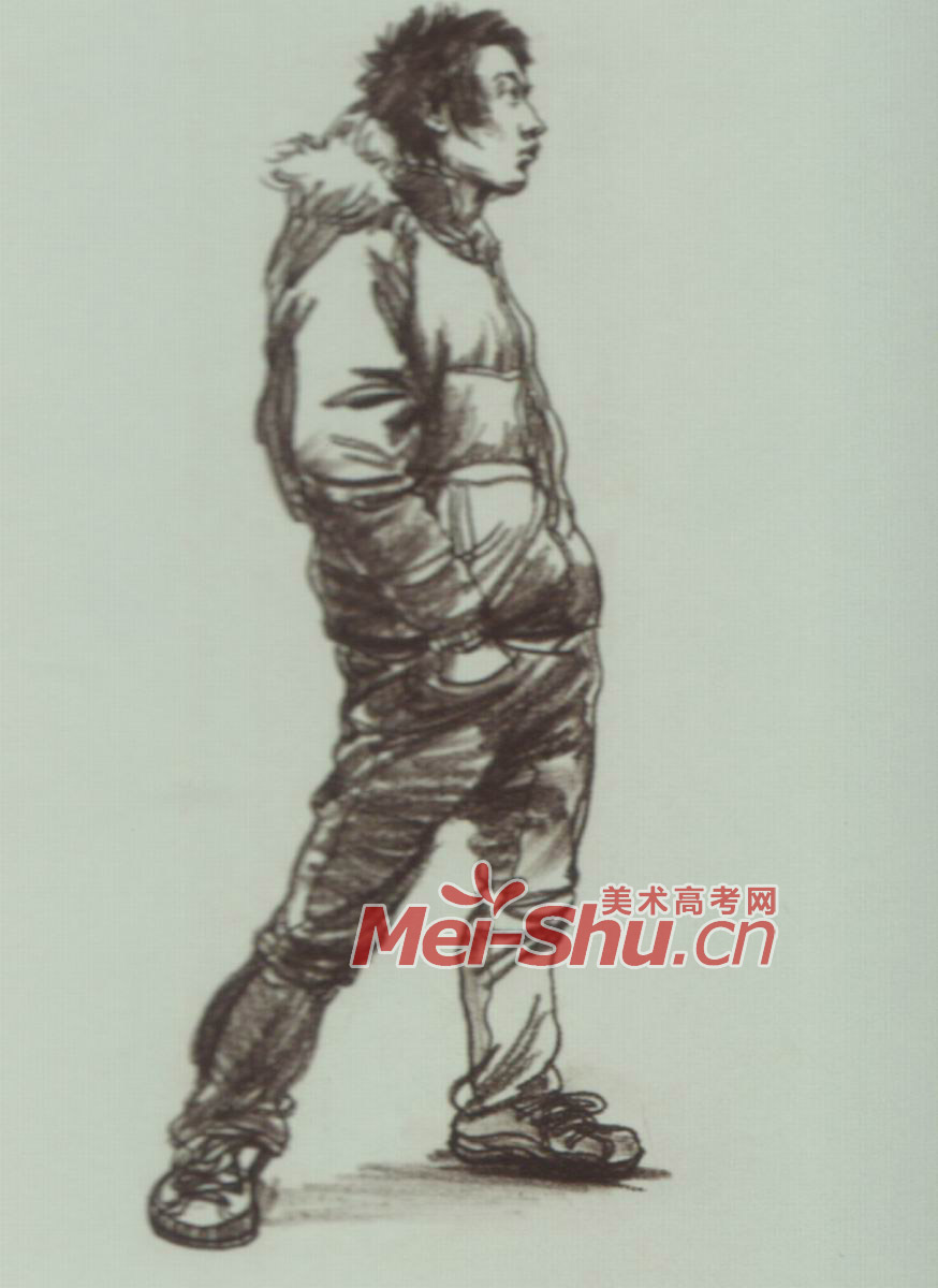 穿着羽绒服的男生,扭过身体; 速写人物玩手机的人倒垃圾的人画画的人