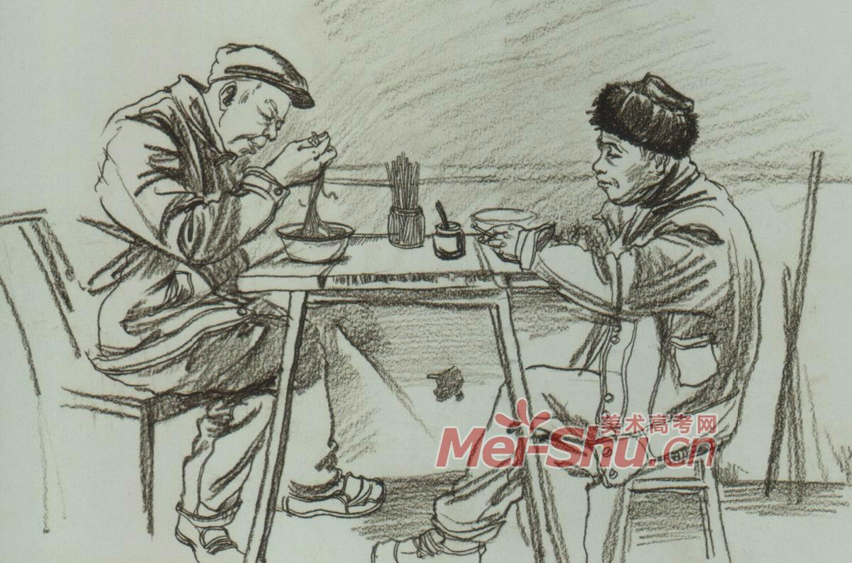 速写人物组合场景速写玩扑克的人坐着看书站着看书的青年吃饭 3