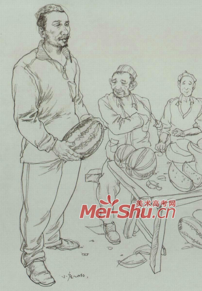 场景速写人物组合速写吃西瓜的人两个农民工写生画室一角