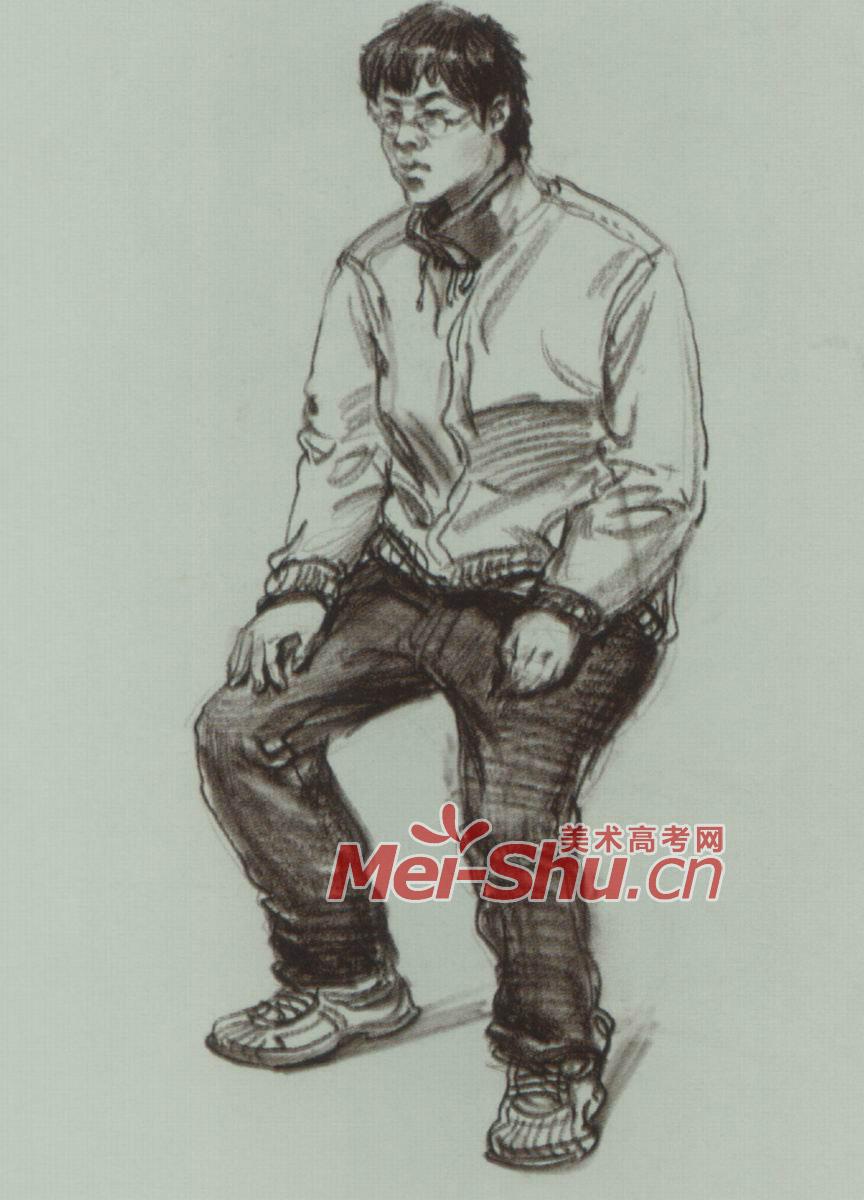 速写单个人物坐着的人坐着的年轻人年轻人坐姿速写