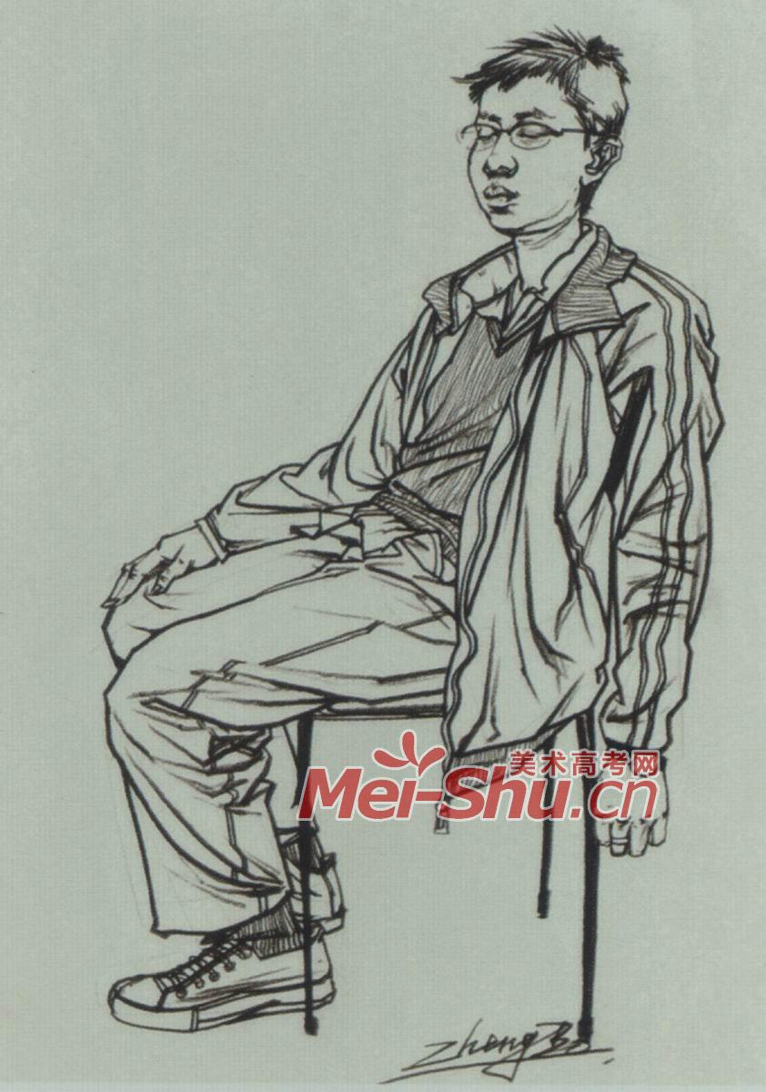 速写人物坐姿坐着看书的人青年坐姿坐着的人速写